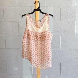 Charlotte Russe  Sheer tank red & offwhite Sm